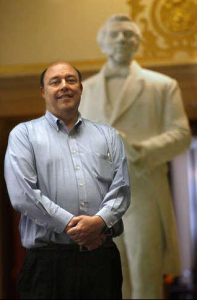 Michael Kennedy with Joseph Smith Statue