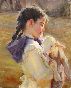 Little Emma with a Small Lamb